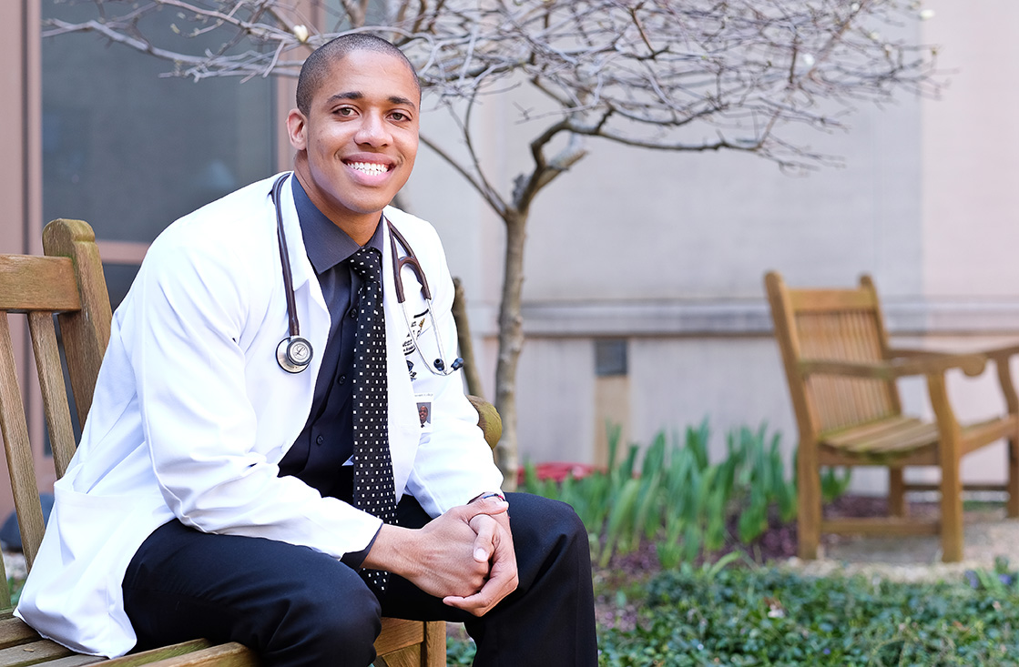 Physician Assistant sitting outside